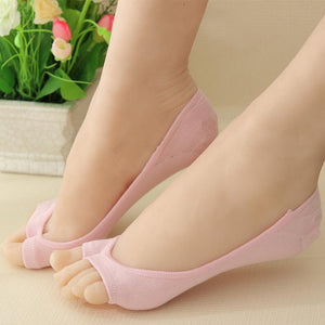 6 Pairs Invisible Peep Toe Socks Non-slip Heel Grip Low Cut Ankle Liner Aloe Fiber Toeless Socks - DealsBlast.com
