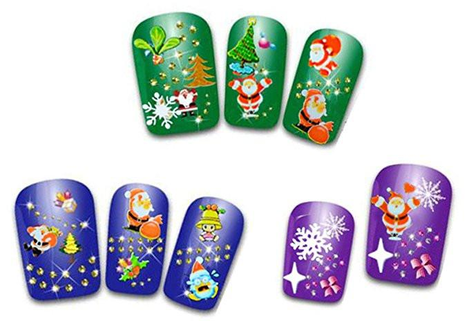 12 Sheets Snowflake Nail Art Sticker Christmas Nail Tip Decal Manicure Makeup - DealsBlast.com