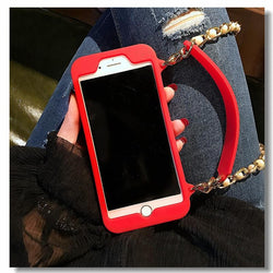 Luxury Wallet Card Soft Silicon Phone Case Cover For iPhone With Pearl Chain - DealsBlast.com