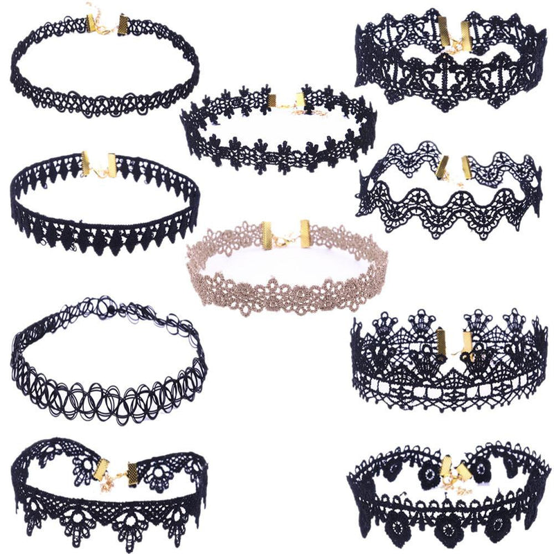 10 Pieces Choker Necklace Set Stretch Velvet Classic Gothic Tattoo Lace Choker - DealsBlast.com