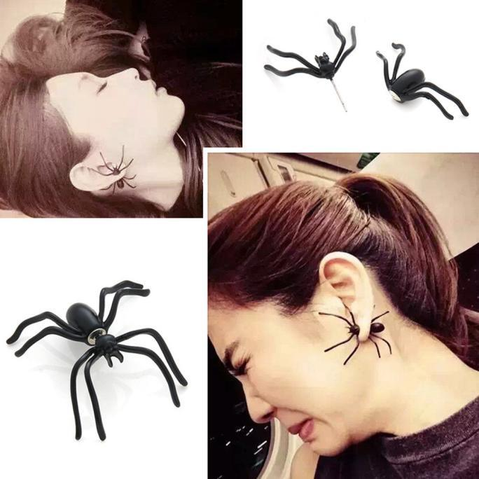 1 Pair Fashion Black Spider Punk Unisex Funny Stud Earring - DealsBlast.com