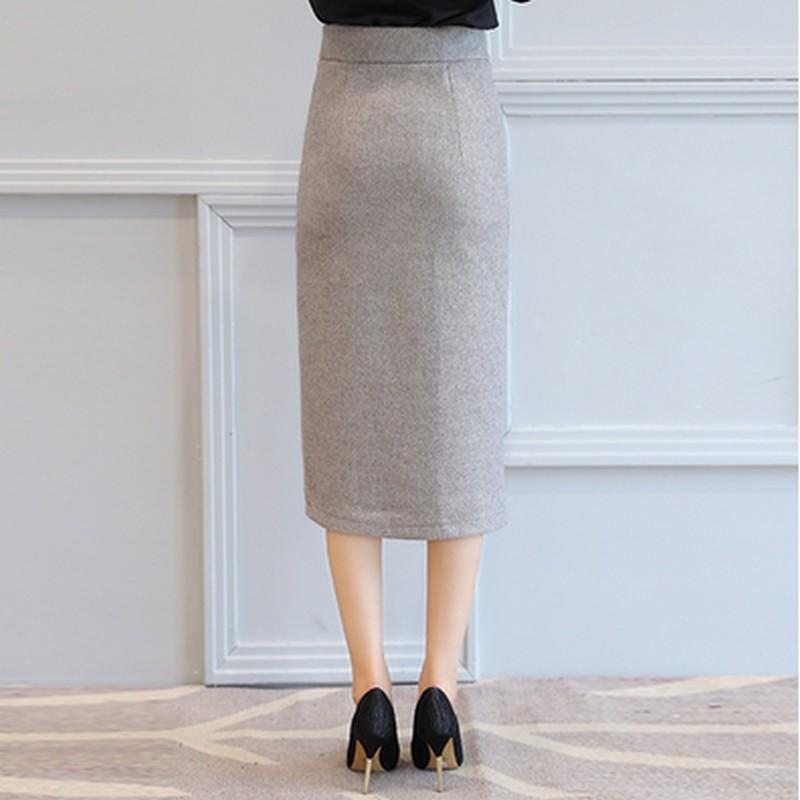 Autumn Winter Midi Single-Breasted High Waist Warm Solid Pencil Skirt - DealsBlast.com