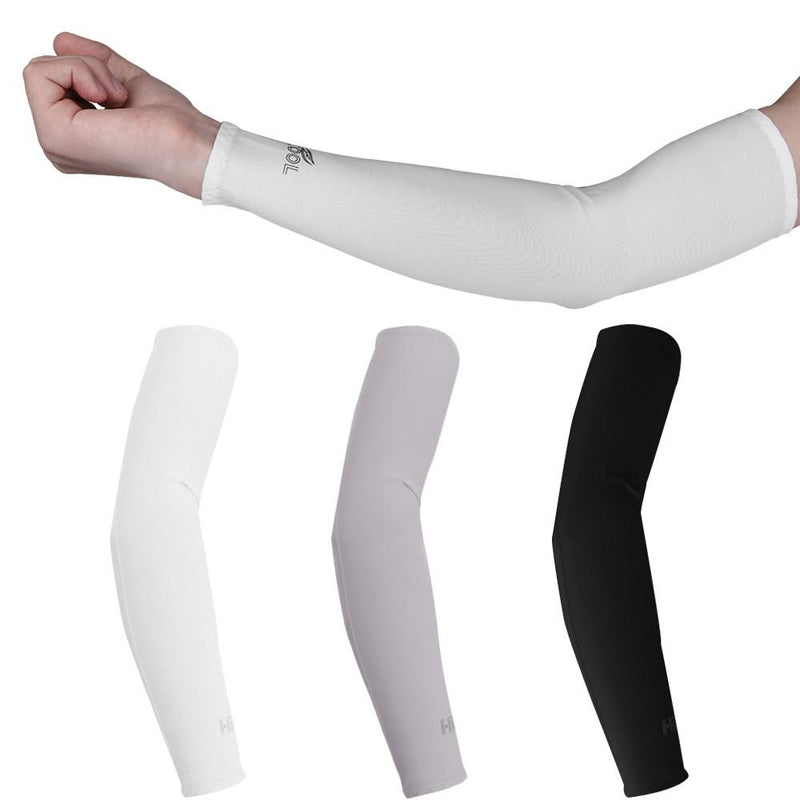 1 Pair UV Protection Cooler Arm Sleeves for Running Bike Hiking Golf Tennis Football Driving Fishing - DealsBlast.com
