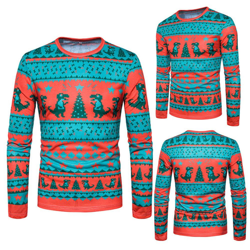 Men Autumn Winter Xmas Christmas Printing Top Men's Long-sleeved T-shirt Blouse