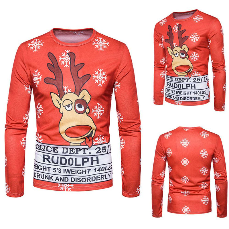 Men Autumn Winter Xmas Christmas PrintingTop Men's Long-sleeved T-shirt Blouse - DealsBlast.com