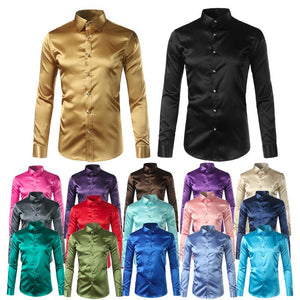 Silk Shirt Men Satin Smooth Men Solid Tuxedo Shirt Business Chemise Homme Casual Slim Fit Shiny Gold Wedding Dress Shirts