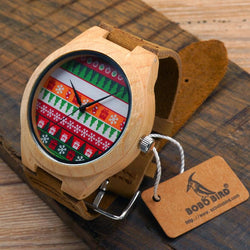 Christmas Style Men And Women Bamboo Wood Watches With Leather Strap - DealsBlast.com