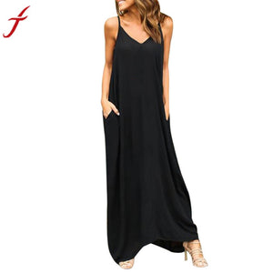Summer Bohemian Dress Womens  PocKet Sleeveless Boho Party Beach Solid Long Maxi Dress - DealsBlast.com