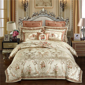 Gold Color Luxury Wedding Royal Bedding set Queen King size Embroidery Cotton Bed sheet set Jacquard Duvet cover Pillow cover