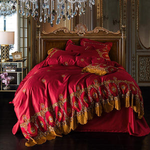 Luxury Egyptian Cotton Golden Lace Royal Bedding sets 4/7Pcs Red Wedding Bed sheet set Queen King size Embroidered Duvet cover