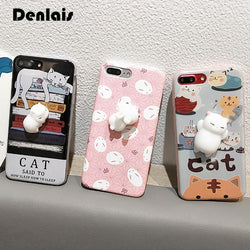 Phone Case For Samsung Galaxy S5 S6 S7 S7Edge S8 S8 Plus 3D Cute Soft Silicon Squishy Cat Fundas Cover Animal Rabbit Kitty - DealsBlast.com