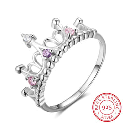 925 Sterling Silver Rings Pink Purple CZ Stones Crown Rings For Women Wedding Bands Fashion Jewelry Gifts - DealsBlast.com