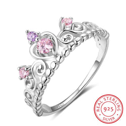 Fashion 925 Sterling Silver Crown Rings For Women Pink Purple Stones Engagement Rings Silver Jewelry Gifts - DealsBlast.com