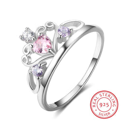 925 Sterling Silver Rings For Women Pink Heart Cubic Zirconia Crown Promise Rings For Wedding Engagment Jewelry Gift - DealsBlast.com