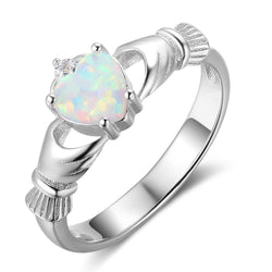 925 Sterling Silver Rings Heart Opal Stone Loyalty Rings For Women Silver Jewelry Fashion Gifts (RI102850) - DealsBlast.com