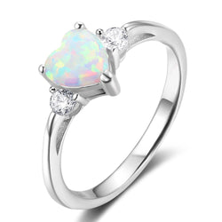 925 Sterling Silver Rings For Women 6mm Heart Opal Engagment Rings Wedding Bands Silver Jewelry Lover Gifts - DealsBlast.com