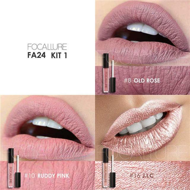 3 Pcs/Set Waterproof Long Lasting Matte Liquid Lip Gloss Lipstick Moisturizer - DealsBlast.com