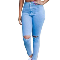 Womens Classic High Waist Skinny Ripped Knee Jeans