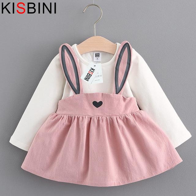 Baby Dress Long Sleeve Girl Dress Fashion Style Children Clothing Cotton Infant Kids Clothes Cute Rabbit - DealsBlast.com