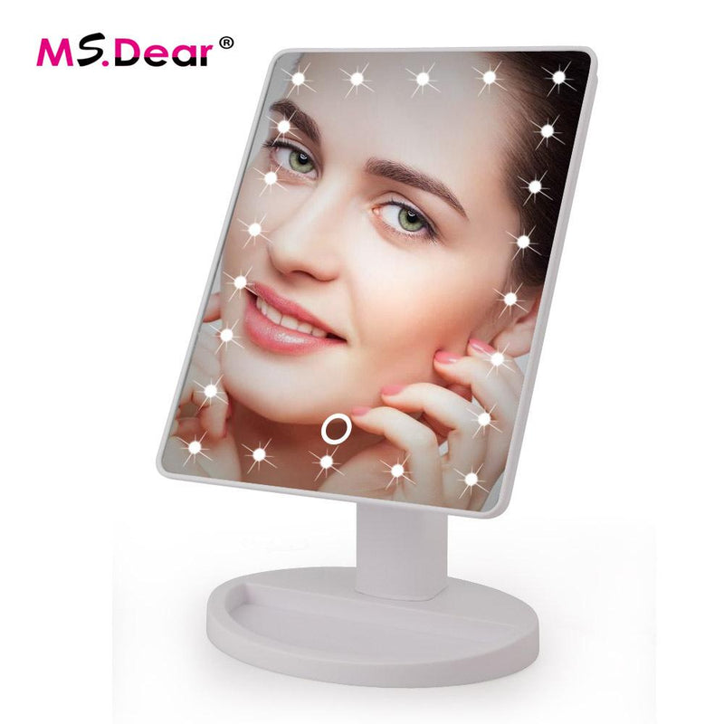 LED Touch Screen Makeup Mirror Professional Vanity Mirror With 16 LED Lights Health Beauty Adjustable Countertop 22 Led Rotating - DealsBlast.com