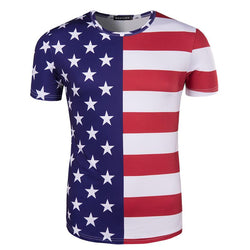 Half Star Half Strip Shirt American Flag T Shirts 3D Printed Tops for Independence Day - DealsBlast.com