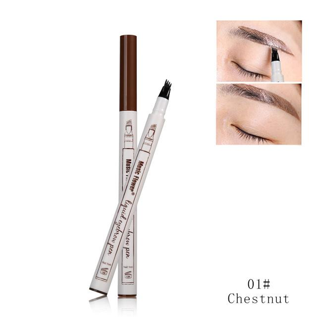 3 Colors Music Flower Brand Makeup Fine Sketch Liquid Eyebrow Pen Waterproof Tattoo Super Durable Eye Brow Pencil - DealsBlast.com