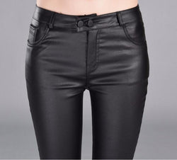 Autumn Winter women leather pants High Waisted elastic shiny trousers slim female pencil leather pants women - DealsBlast.com