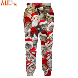 Christmas Cat Print 3d Trousers Leggings Unisex