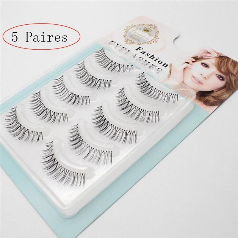 5 Pairs Natural Soft False Eyelashes Long Thick Lashes with Transparent Plastic Stick for Women Gril Lady - DealsBlast.com