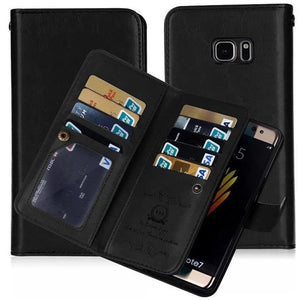 Retro PU Leather Wallet Flip Case For Samsung Galaxy Note 8 S8 Plus S7 S6 Edge S5 Note 5 Case 2 in 1 Magnetic Removable 9 Cards - DealsBlast.com