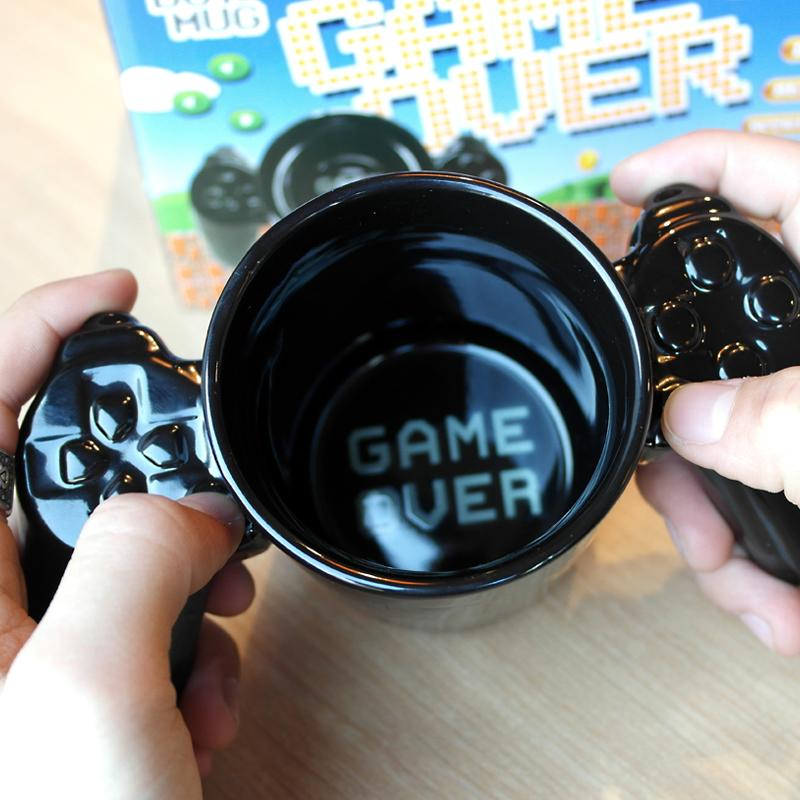 1Pcs Creative handle Game Over mug, personalized shape coffee milk Boy Game Over cup, Gamepad Controller Coffee MugBirthday Gift - DealsBlast.com
