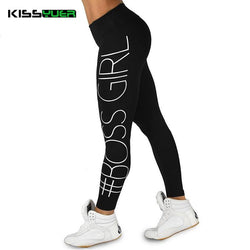 #BOSS GIRL Letter Yoga Pants Women's Sexy Hips Fitness Yoga Legging Sport Leggings Running Stretch Sportswear Tights Gym Pant - DealsBlast.com