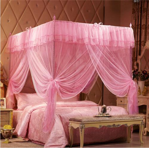 Pink Romantic Post Bed Canopy Mosquito Netting for All Size - DealsBlast.com