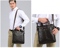 Genuine Leather Men's Shoulder Bag High Quality Men's Business Briefcase Real Leather top-handle messenger bag Handbags - DealsBlast.com