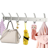 Heavy Duty Stainless Steel Wiredrawing Wall Mounted Hook Rack Hook Rail Coat Rack with 6 Hooks Home Storage Organization for Kitchen Bedroom Bathroom - DealsBlast.com