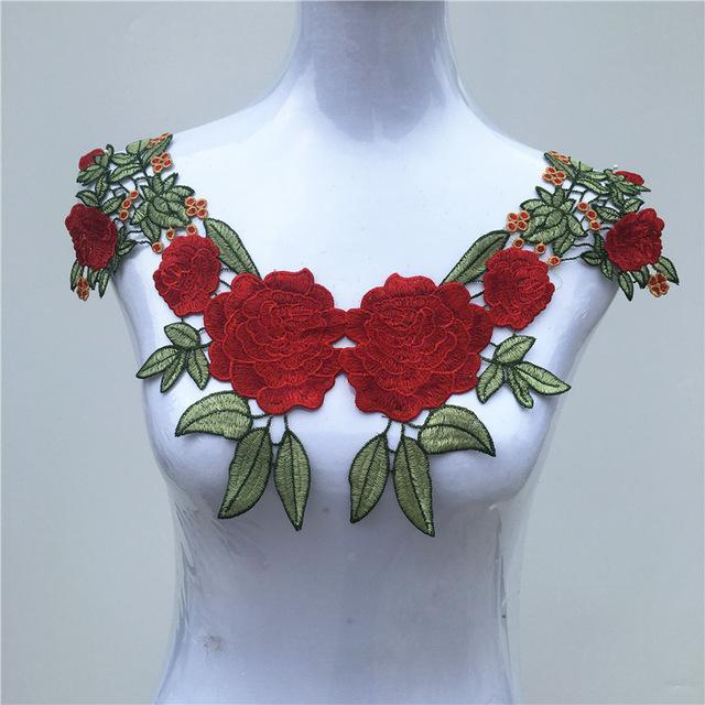 1Pc Fabric Flower Venise Lace Sewing Applique Lace Collar Neckline Collar Applique Accessories 19-27 - DealsBlast.com