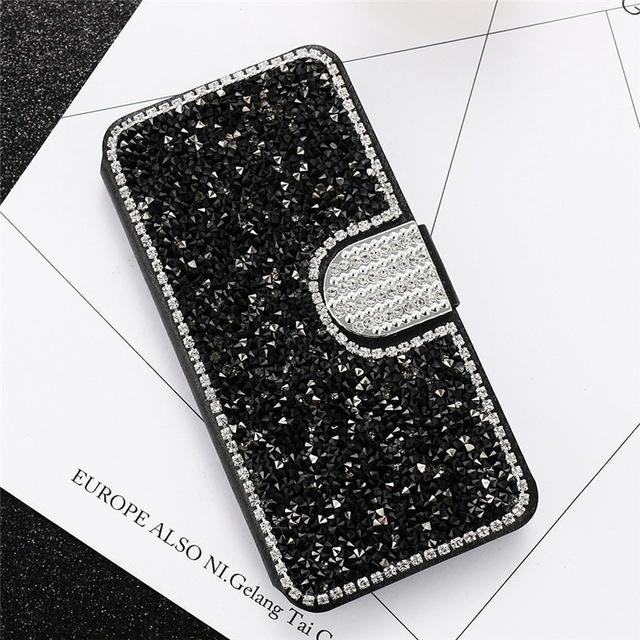 Glitter Leather Flip Phone Case For iPhone 6 6S 7 8 Plus 5 5S SE Bling Diamond Stand Wallet Back Cover - DealsBlast.com