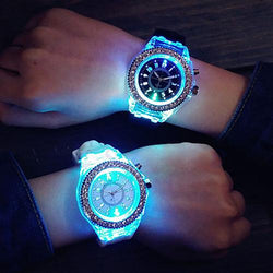 LED Backlight Unisex Waterproof Silicone Band Geneva Sports Quartz Wrist Watch