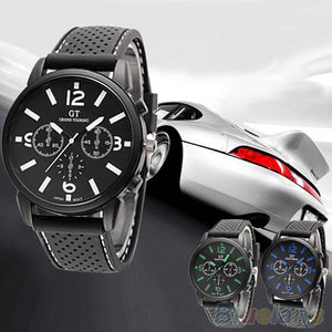 Men's Watches Quartz Analog Silicone Band Stainless Steel Men Sports Clock Wrist Watch Male - DealsBlast.com