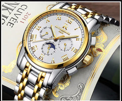 Fashion Automatic Mechanical Watch Men Full Steel Gold watch Classic Business Wristwatch - DealsBlast.com