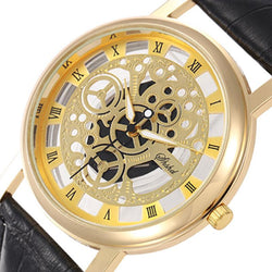 Business Watches Men Fashion Roma Scale Gold Quartz Watch Men Casual Skeleton Wrist watch - DealsBlast.com