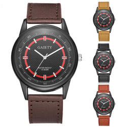 Men Fashion Faux Leather Band Watch Big Pointer Business Dial Analog Quartz Wristwatch - DealsBlast.com