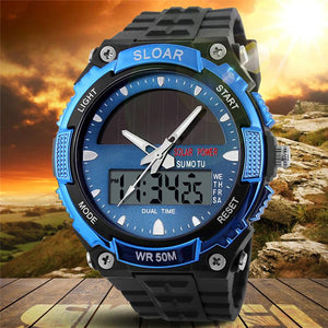 Men Sports Solar Power Dual Time Display Water Resistant Electronic Silicone Strap Digital Wrist Watch - DealsBlast.com