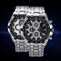 Men 3 Sub-Dials Silver Tone Stainless Steel Band Quartz Business Wrist Watch - DealsBlast.com
