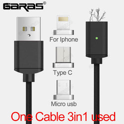 Magnetic Cable Lightning Micro USB Type C 3in1 Mobile Phone Magnet Cable Fast Charging Magnetic Micro USB Cable Adapter - DealsBlast.com