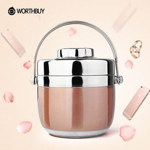 Thermal Insulation Lunch Box Japanese Stainless Steel Bento Box Food Container Storage Portable Picnic Camping With Bag - DealsBlast.com