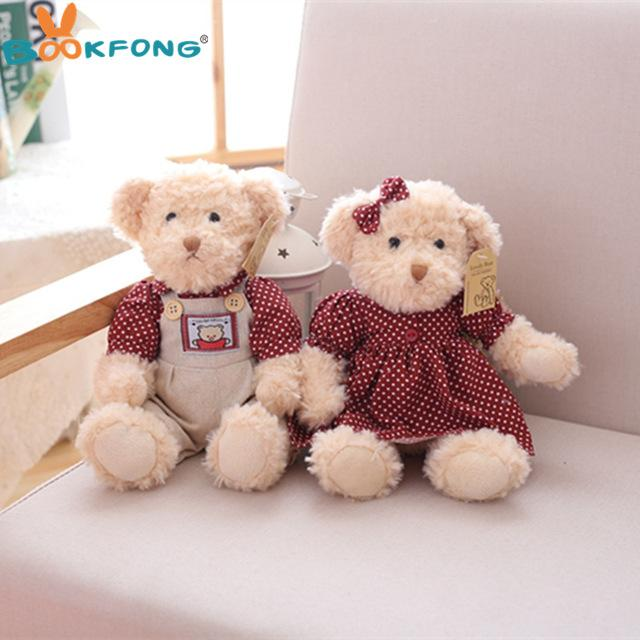 2PCS Valentine Teddy Bear Plush Toys Stuffed Couple Bears Children Girls Gifts Collection Toy Home Decor - DealsBlast.com