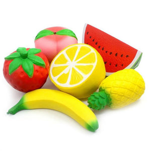 6pcs Jumbo Soft Slow Rising Strawberry Peach Banana Lemon Watermelon Pineapple Charms Fruit Cream Scented Stress Relief Kawaii Toys For Kids and Adults