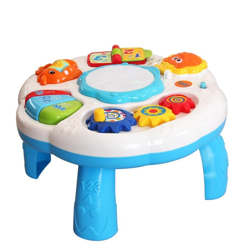Baby Kids Musical Table Pre Kindergarten Early Educational Toy Development Activity Centers Music Learing Table for Toddlers - DealsBlast.com