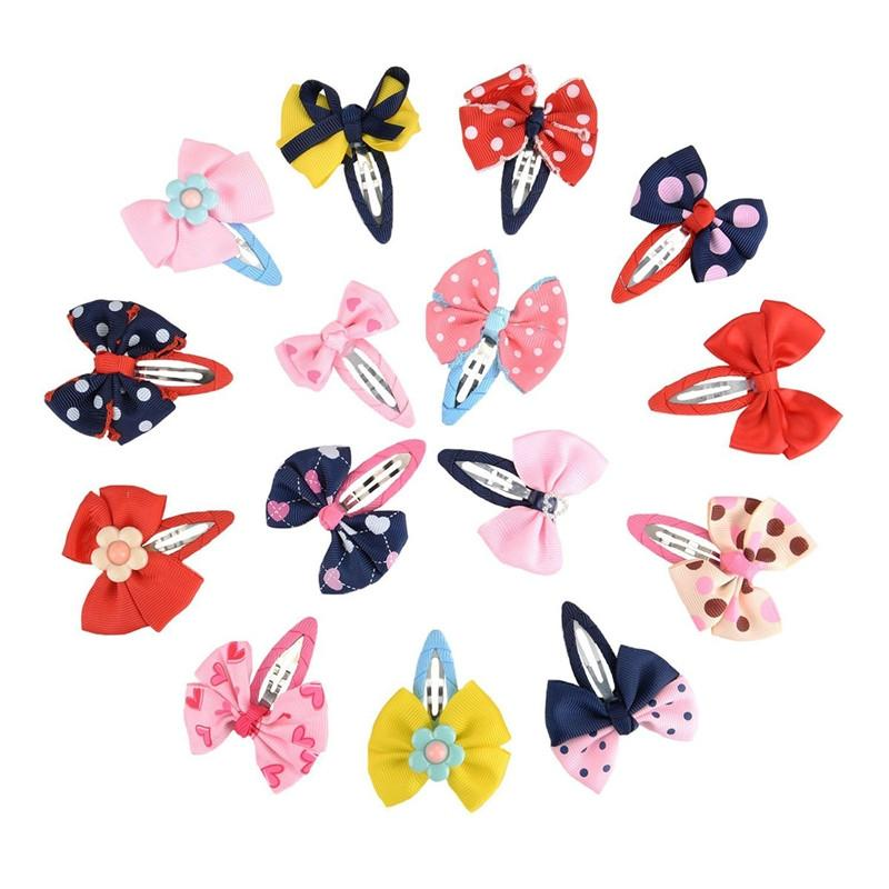 15pcs Bow Barrettes Hair Snaps Bowknot Hair Clips Headwear for Baby Kids Children Girls - DealsBlast.com